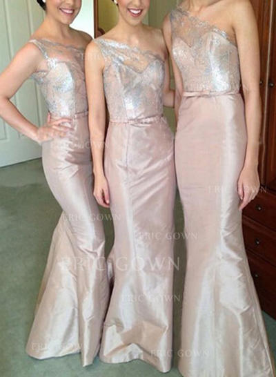 Trumpet/Mermaid One-Shoulder Floor-Length Bridesmaid Dresses With Appliques Lace (007218569)