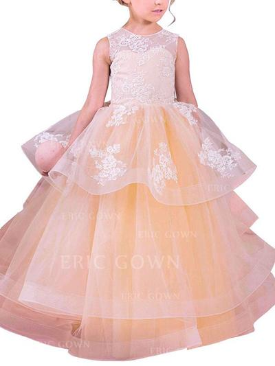 Ball Gown Scoop Neck Floor-length With Appliques Organza Flower Girl Dresses (010211794)