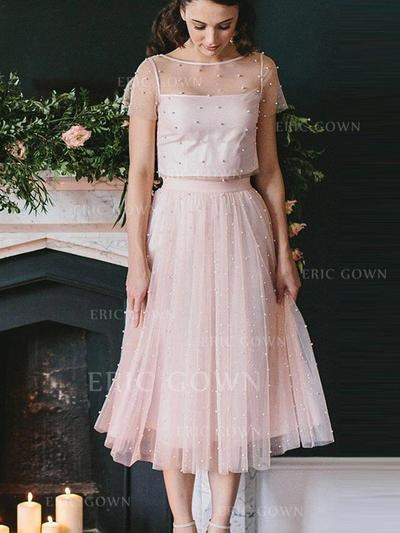 A-Line/Princess Scoop Neck Tea-Length Tulle Homecoming Dresses With Beading (022212432)