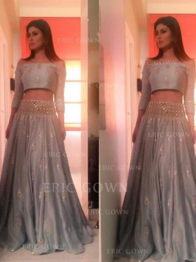 A-Line/Princess Off-the-Shoulder Floor-Length Prom Dresses With Beading (018218112)