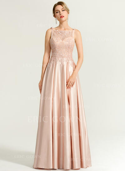 A-Line/Princess Square Neckline Floor-Length Satin Evening Dress With Beading Sequins Bow(s) (017167678)