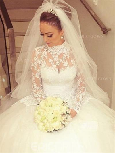 Ball-Gown Lace Long Sleeves High Neck Cathedral Train Wedding Dresses (002147812)