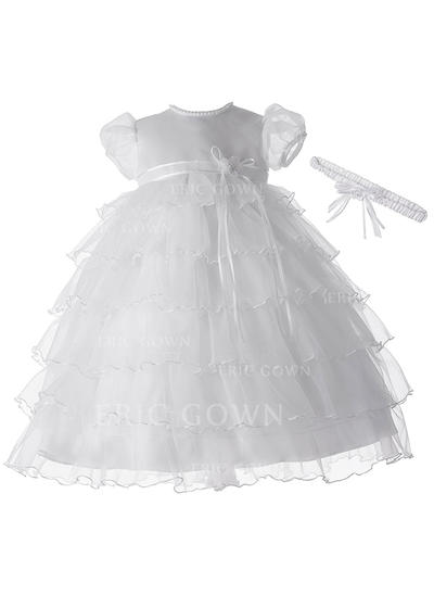 A-Line/Princess Scoop Neck Floor-length Tulle Christening Gowns With Beading (2001216858)