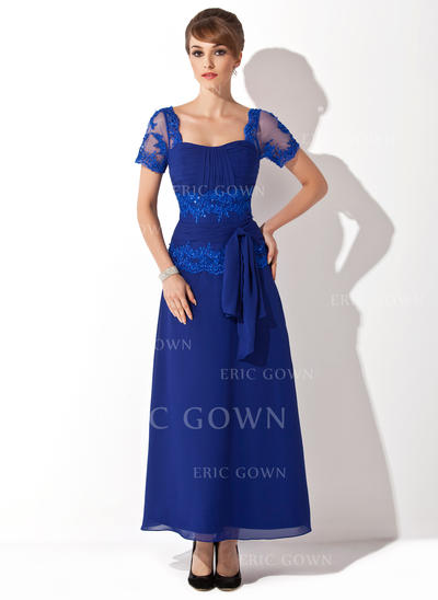 A-Line/Princess Sweetheart Ankle-Length Chiffon Mother of the Bride Dress With Beading Appliques Lace Sequins Bow(s) (008014546)