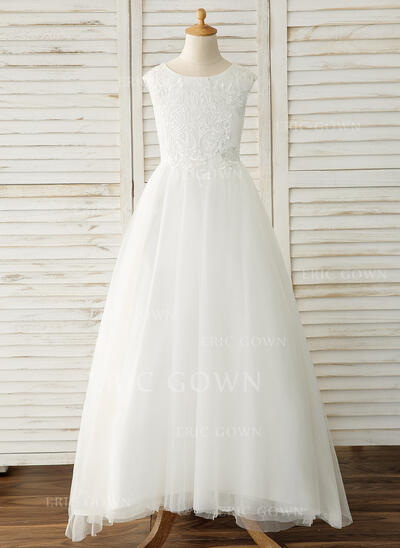 Ball Gown Scoop Neck Floor-length With Bow(s) Tulle/Lace Flower Girl Dresses (65597010183543)