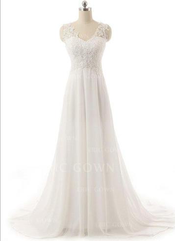 Vacker V-Ringning A-linjeformat Bröllopsklänningar Sweep släp Chiffong Ärmlös (002148101)
