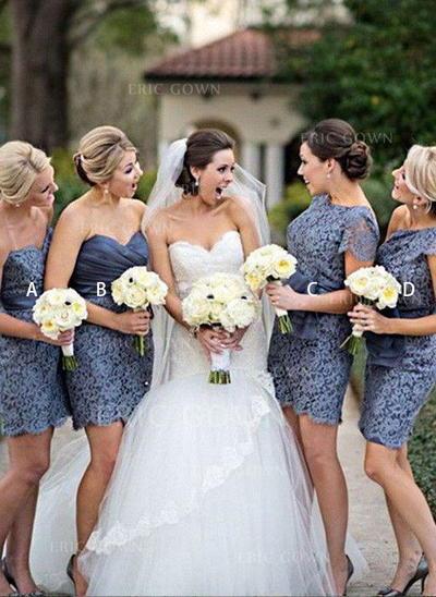 Sheath/Column Sweetheart Short/Mini Bridesmaid Dresses With Sash (007211715)