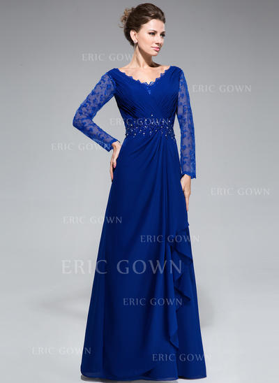 A-Line/Princess Chiffon Lace Long Sleeves V-neck Floor-Length Zipper Up Mother of the Bride Dresses (008050416)