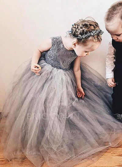 A-Line/Princess Scoop Neck Floor-length With Bow(s) Tulle/Lace Flower Girl Dresses (010216401)