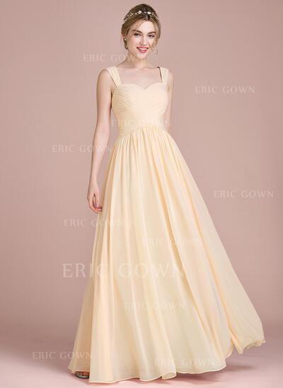 A-Line/Princess Floor-Length Chiffon Bridesmaid Dress With Ruffle (007104715)