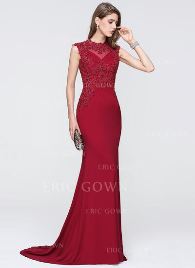 Trumpet/Mermaid Scoop Neck Sweep Train Jersey Evening Dress With Beading Sequins (017111406)