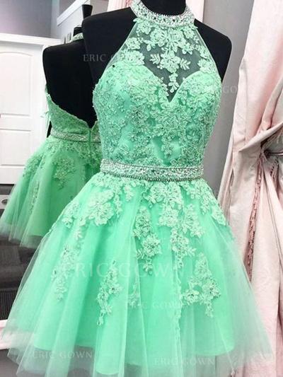 A-Line/Princess Halter Short/Mini Homecoming Dresses With Sash Appliques Lace (022216286)