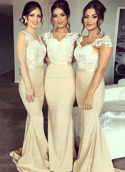Trumpet/Mermaid Lace Jersey Bridesmaid Dresses V-neck Sleeveless Sweep Train (007145053)