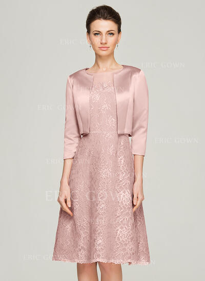 A-Line Scoop Neck Knee-Length Lace Mother of the Bride Dress With Beading (008062575)