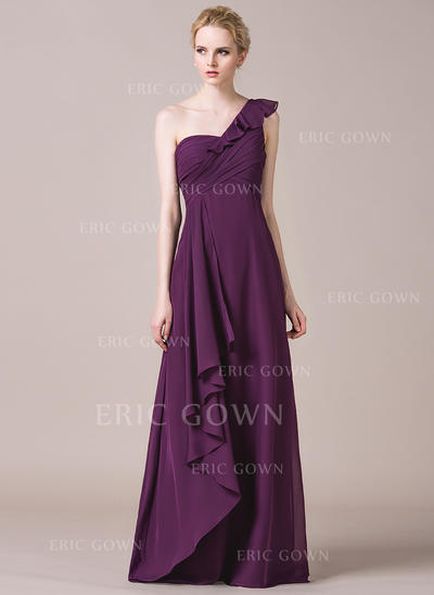A-Line/Princess Chiffon Bridesmaid Dresses Cascading Ruffles One-Shoulder Sleeveless Floor-Length (007198828)