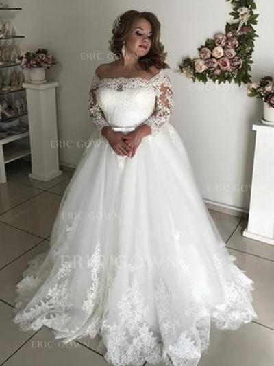 A-Line/Princess Off-The-Shoulder Sweep Train Wedding Dresses With Lace Sash Bow(s) (002218060)