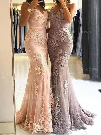 Sheath/Column Sweetheart Sweep Train Prom Dresses With Appliques Lace (018211728)