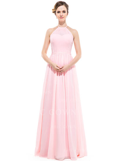 A-Line/Princess Scoop Neck Floor-Length Chiffon Prom Dresses With Ruffle (018112691)