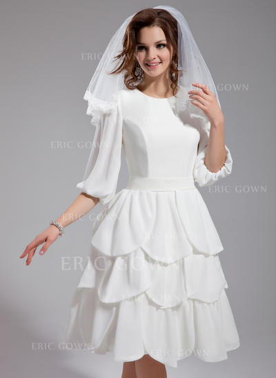 Princess Scoop A-Line/Princess Wedding Dresses Knee-Length Chiffon (002211050)