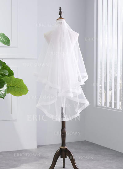 Fingertip Bridal Veils Tulle Two-tier With Ribbon Edge With Ribbon Wedding Veils (006152509)