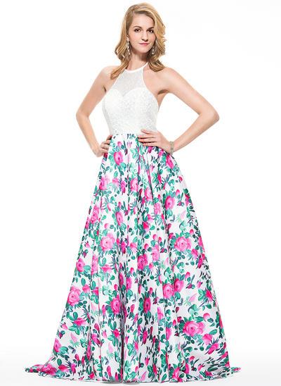 A-Line/Princess Lace Prom Dresses Halter Sleeveless Sweep Train (018076007)