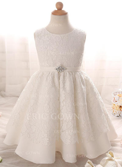 A-Line/Princess Scoop Neck Floor-length Satin Christening Gowns With Rhinestone (2001217414)
