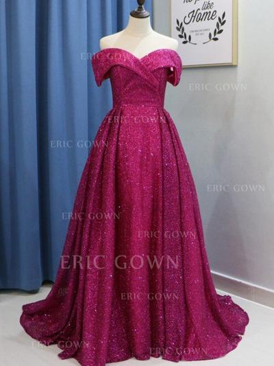 Ball-Gown Off-the-Shoulder Sweep Train Prom Dresses With Ruffle (018218650)