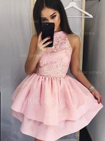 A-Line/Princess High Neck Short/Mini Satin Cocktail Dresses With Ruffle Appliques Lace (016217730)