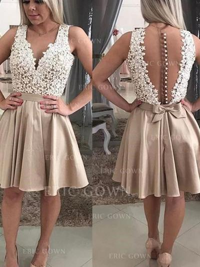 A-Line/Princess V-neck Short/Mini Knee-Length Homecoming Dresses With Lace Beading Appliques Lace (022216251)
