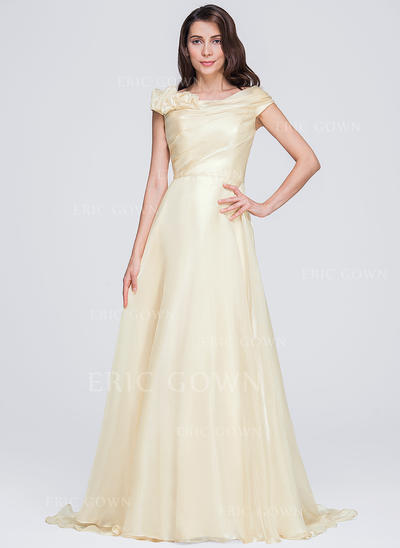 A-Line/Princess Scoop Neck Court Train Evening Dresses With Ruffle Flower(s) (017071585)