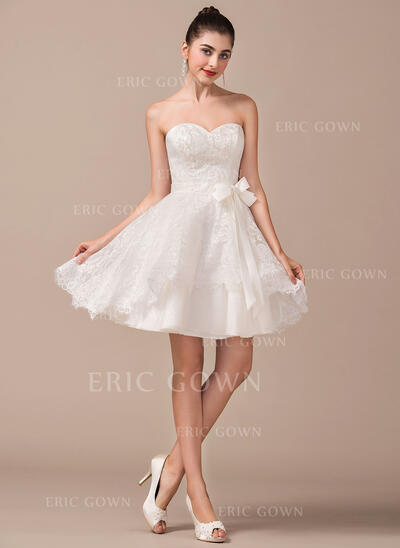 A-Line/Princess Sweetheart Short/Mini Lace Wedding Dress With Bow(s) (002070235)