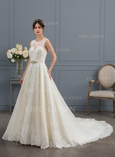 Ball-Gown/Princess Illusion Royal Train Tulle Wedding Dress With Beading Sequins (002153426)