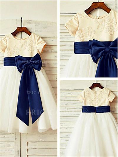 A-Line/Princess Scoop Neck Tea-length With Bow(s) Satin/Tulle Flower Girl Dresses (010211989)