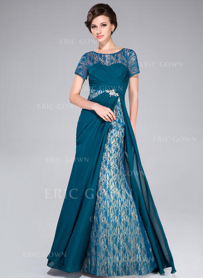 A-Line/Princess Scoop Neck Sweep Train Chiffon Mother of the Bride Dress With Ruffle Beading Sequins (008041170)