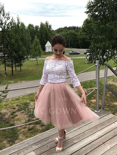 A-Line/Princess Off-the-Shoulder Tea-Length Cocktail Dresses With Lace (016219358)
