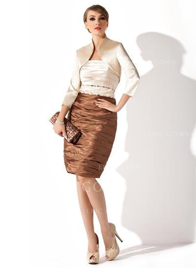 Sheath/Column Charmeuse Sleeveless Strapless Knee-Length Zipper Up Mother of the Bride Dresses (008211208)
