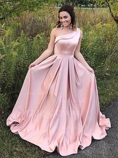 A-Line/Princess Satin Prom Dresses Ruffle One-Shoulder Sleeveless Floor-Length (018148424)