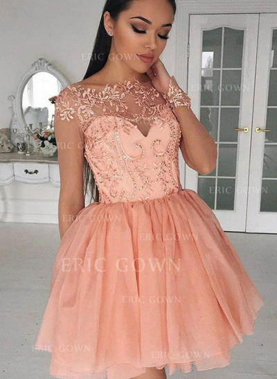 A-Line/Princess Scoop Neck Short/Mini Homecoming Dresses With Appliques (022212397)