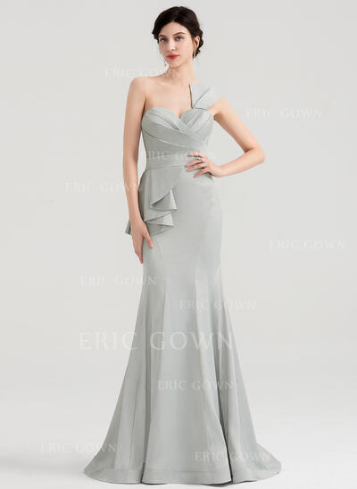 Trumpet/Mermaid One-Shoulder Sweep Train Satin Evening Dress With Ruffle (017153633)