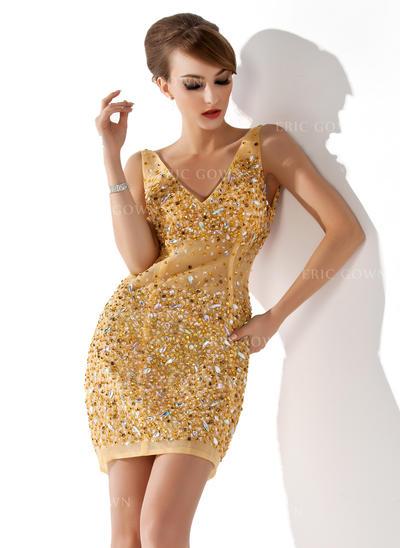 Sheath/Column V-neck Short/Mini Tulle Cocktail Dresses With Beading (016008356)