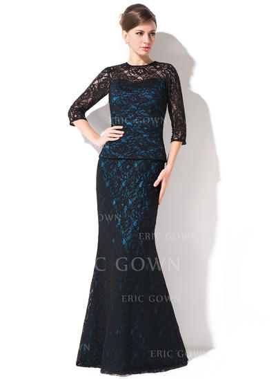 Trumpet/Mermaid Lace 1/2 Sleeves Scoop Neck Floor-Length Zipper Up Mother of the Bride Dresses (008042314)