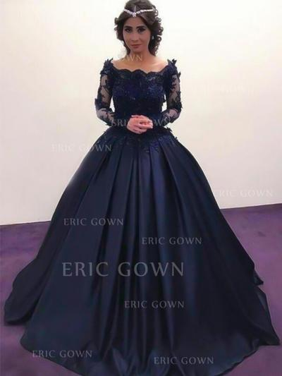 Ball-Gown Off-the-Shoulder Floor-Length Satin Evening Dresses With Beading Appliques Lace (017217813)