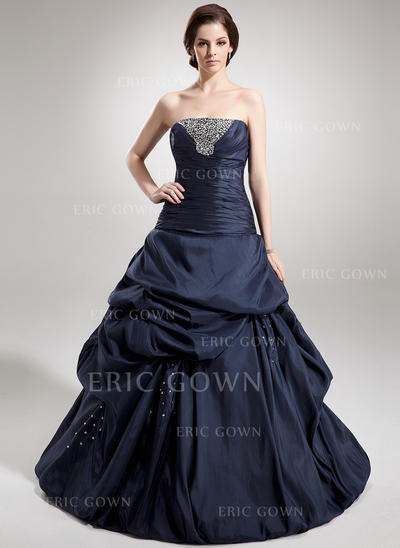 Ball-Gown Taffeta Prom Dresses Ruffle Beading Sequins Strapless Sleeveless Floor-Length (018135549)