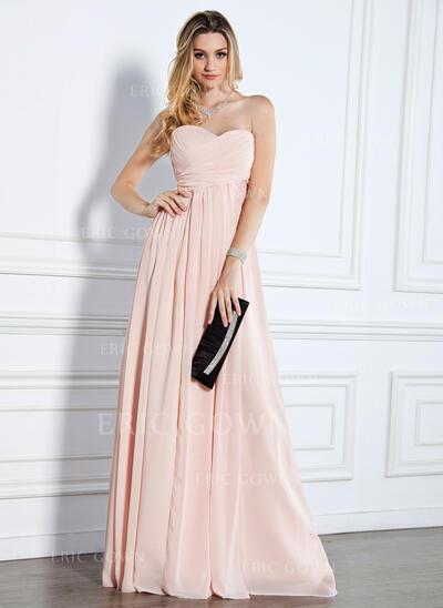 Empire Sweetheart Floor-Length Chiffon Evening Dress With Ruffle (017022510)