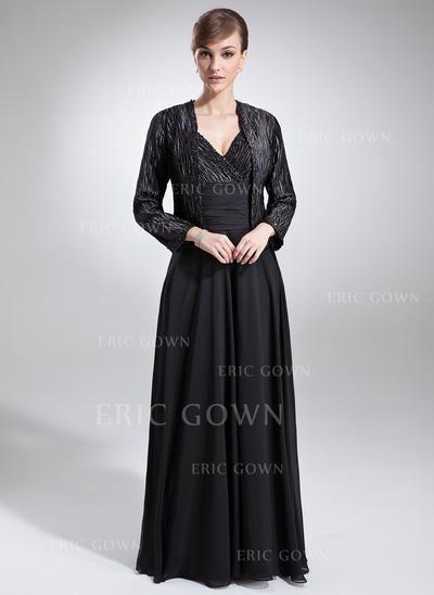 A-Line/Princess Chiffon Charmeuse Sleeveless V-neck Floor-Length Zipper Up Mother of the Bride Dresses (008006052)