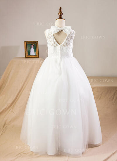 Ball Gown Floor-length Flower Girl Dress - Satin/Tulle/Lace Sleeveless Scoop Neck With Bow(s)/Back Hole (010094101)