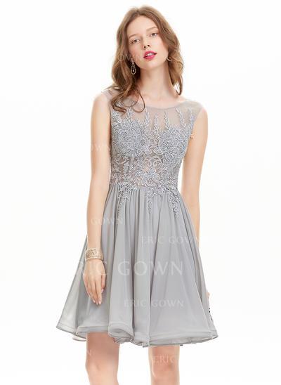 A-Line/Princess Scoop Neck Knee-Length Chiffon Homecoming Dresses (022214171)