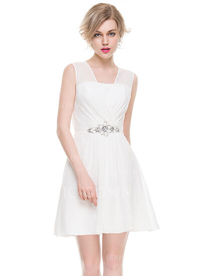 A-Line/Princess V-neck Short/Mini Chiffon Cocktail Dress With Ruffle Beading Sequins (016083914)