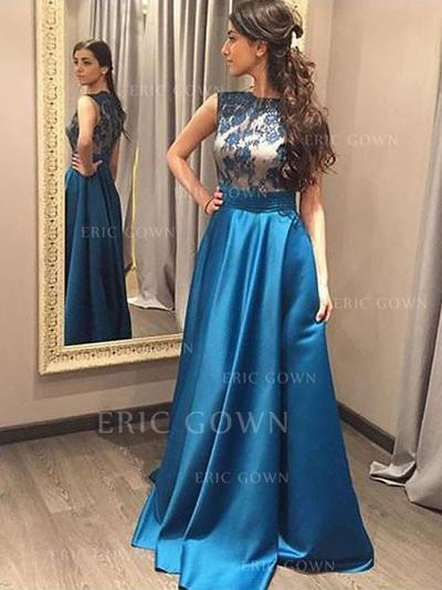 A-Line/Princess Scoop Neck Floor-Length Satin Prom Dresses With Lace (018217330)