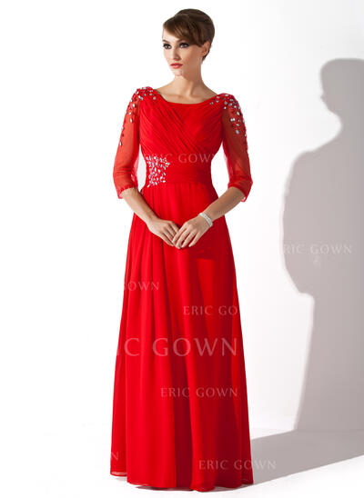 A-Line Scoop Neck Floor-Length Chiffon Mother of the Bride Dress With Ruffle Beading Sequins (008005752)
